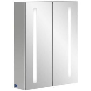 Villeroy & Boch my view 14+ Armoire toilette 60x75x17.3cm avec 2 portes et éclairage LED vertical et boîte de médicaments fermée a4336000