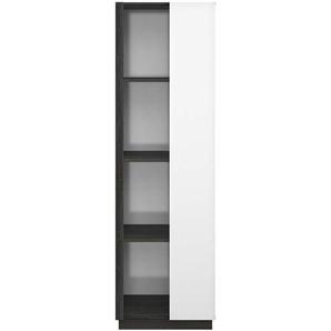Vitrine 1 porte vitrée ASTON coloris blanc/ noir