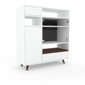 Vitrine - Blanc, design, pour documents, avec porte Verre clair transparent et tiroir Blanc - 116 x 130 x 47 cm