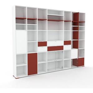 Vitrine - Blanc, design, pour documents, avec porte Verre clair transparent et tiroir Rouge bordeaux - 308 x 235 x 35 cm