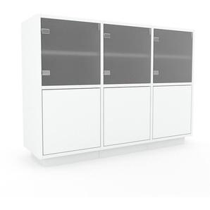 Vitrine - Blanc, moderne, pour documents, avec porte Blanc - 118 x 85 x 35 cm, personnalisable
