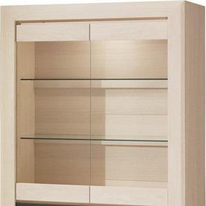 Vitrine chêne blanchi 2 portes vitrées 1 tiroir 2 étagères verre décor verre anthracite