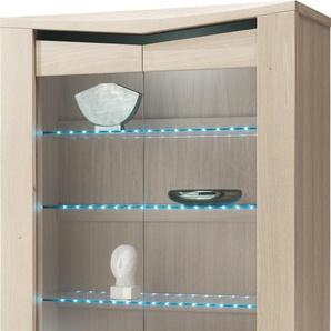 Vitrine chêne blanchi 2 portes vitrées 1 tiroir 3 étagères verre