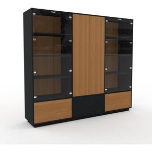 Vitrine - Chêne, design, pour documents, avec porte Verre clair transparent et tiroir Chêne - 226 x 200 x 47 cm