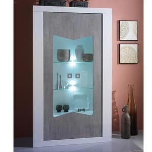Vitrine design 2 portes avec LED - Orson - Laqué Blanc et Béton