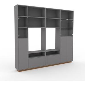 Vitrine - Gris, design, pour documents, avec porte Gris et tiroir Gris - 265 x 239 x 35 cm