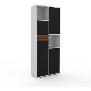 Vitrine - Noir, design, pour documents, avec porte Noir et tiroir Noyer - 79 x 196 x 35 cm