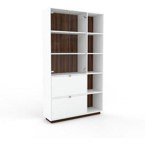 Vitrine - Noyer, design, pour documents, avec porte Verre clair transparent et tiroir Blanc - 116 x 200 x 35 cm