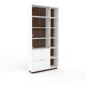 Vitrine - Noyer, design, pour documents, avec porte Verre clair transparent et tiroir Blanc - 116 x 239 x 35 cm