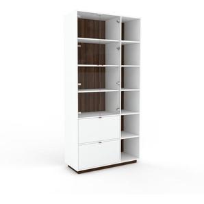 Vitrine - Noyer, design, pour documents, avec porte Verre clair transparent et tiroir Blanc - 116 x 239 x 47 cm