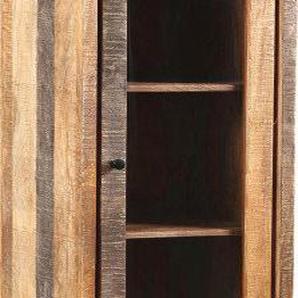 Vitrine palissandre aspect traits de scie et acier noir 2 portes 1 tiroir
