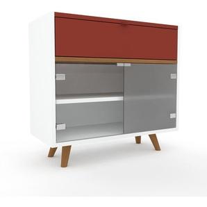 Vitrine - Rouge bordeaux, design, pour documents, avec porte Verre clair transparent et tiroir Rouge bordeaux - 77 x 72 x 35 cm