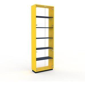 Vitrine - Verre clair transparent, moderne, pour documents, avec porte Verre clair transparent - 77 x 239 x 35 cm, personnalisable