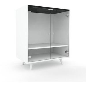 Vitrine - Verre clair transparent, moderne, pour documents, avec porte Verre clair transparent - 77 x 91 x 47 cm, personnalisable