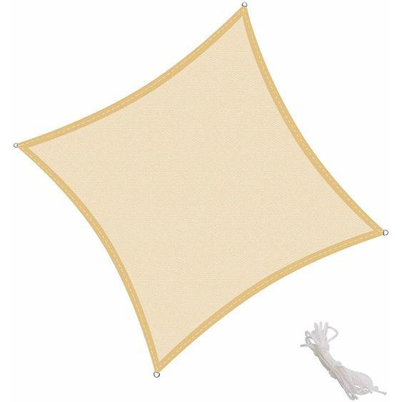 Voile dombrage carré 2x2m pour Extérieur Jardin Terrasse Protection UV Polyéthylène Haute Densité Respirant, Couleur Sable - KINGSHADE