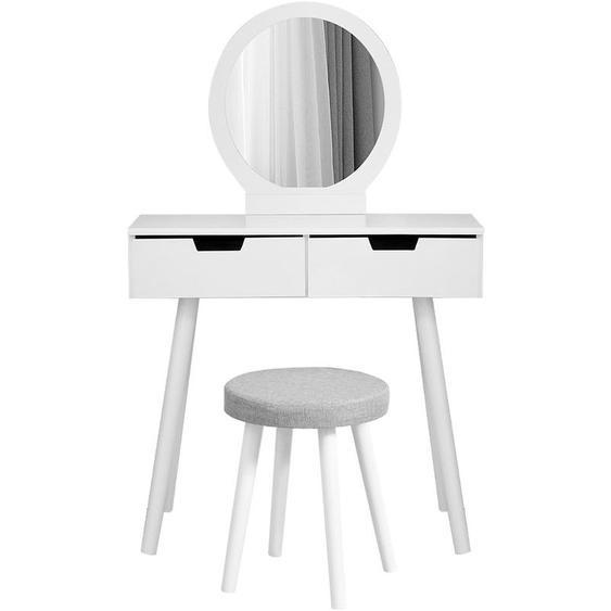 Oobest - Wihobby Coiffeuse Moderne Table de Maquillage avec Miroir et Tabouret, avec 2 Spacieux Tiroirs Coulissants, Housse de Tabouret Détachable - Blanc - Blanc