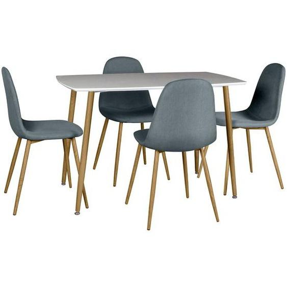 WINTER - Ensemble Table + 4 Chaises Gris Foncé