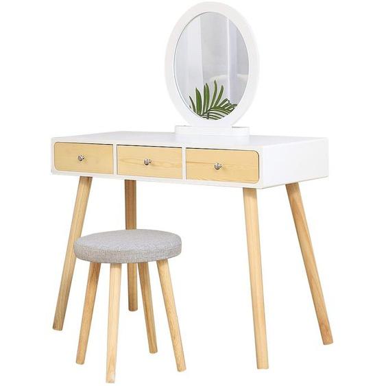 ® Coiffeuse Design scandinave Blanc Grand Surface 100x40cm Livraison avec le tabouret - Wyctin