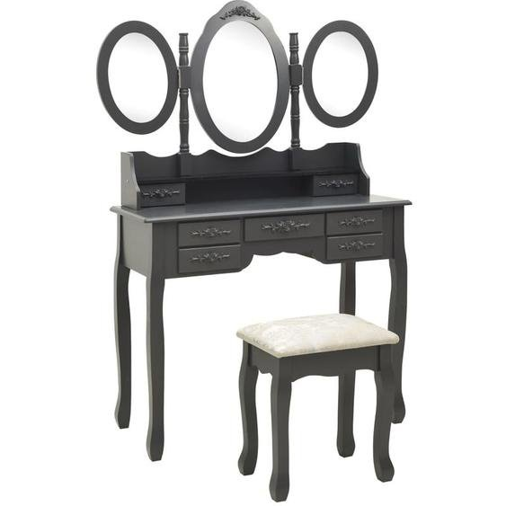 Youthup - Coiffeuse avec tabouret et miroir pliable en 3 Gris