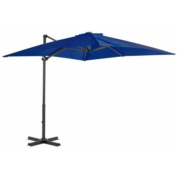 Youthup - Parasol déporté et mât en aluminium Bleu azuré 250x250 cm