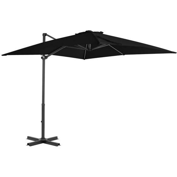 Youthup - Parasol déporté et mât en aluminium Noir 250x250 cm