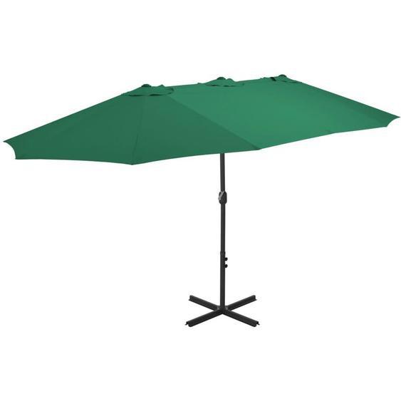 Parasol dextérieur et mat en aluminium 460 x 270 cm Vert
