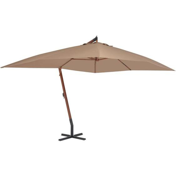 Youthup - Parasol en porte-à-faux avec mat en bois 400 x 300 cm Taupe