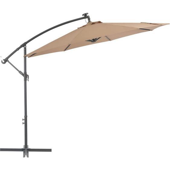 Youthup - Parasol en porte-à-faux LED et mât en acier 300 cm Taupe