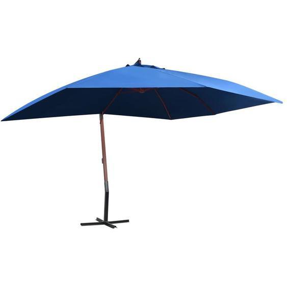 Youthup - Parasol suspendu avec mat en bois 400x300 cm Bleu