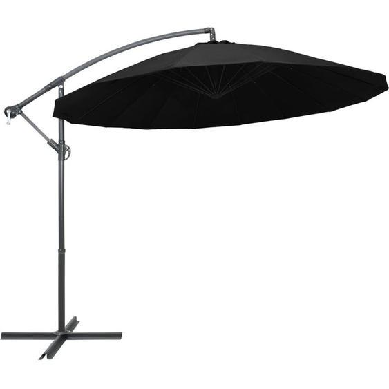 Youthup - Parasol suspendu Noir 3 m Mât en aluminium